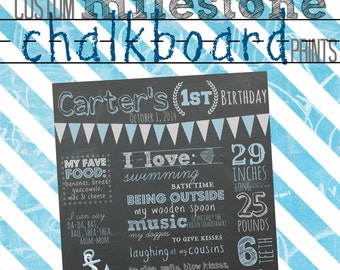 Custom milestone chalkboard prints