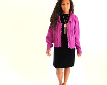 SALE cardigan mohair sweater . vintage magenta cardigan . purple sweater . 1980s slouchy sweater . oversized cardigan . fuzzy sweater
