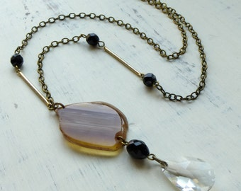 Agate Stone Necklace with Crystal Drop. Asymmetrical Vintage Assemblage Jewelry . Earthy Boho Chic