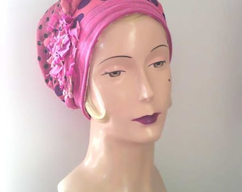 Pink Polka Dot Mama Hat, Purple, Orange, Vintage Fabrics, Crepe Georgette, Flower, Boho, Long or Short Hair