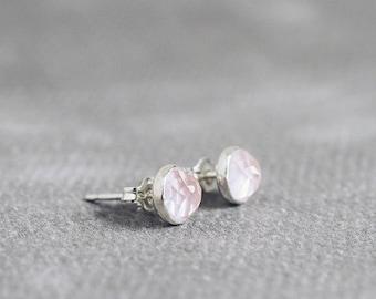 Rose-cut ROSE QUARTZ stud earrings, 6mm sterling silver posts