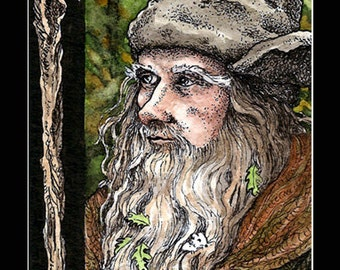 Radagast ACEO 2.5x3.5 Print Lord of the Rings Mini Trading Card Art