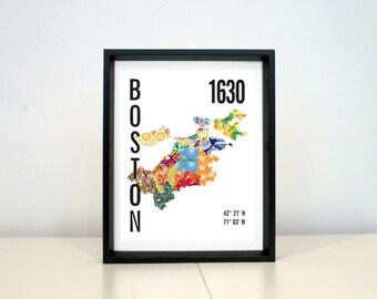 Boston City Map Print