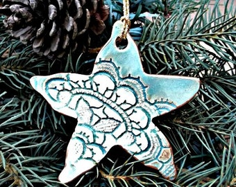 Ceramic Christmas Ornament Beach Theme Sea green Starfish edged in gold