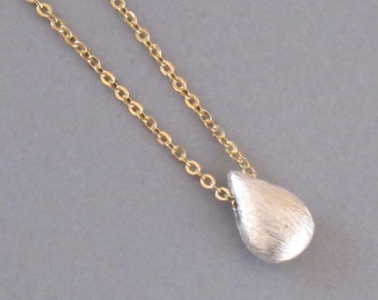 Tiny Sterling Silver Drop Necklace Charm Gold Chain Teardrop DJStrang Solitaire Mixed Metals Minimalist Briolette Shaped