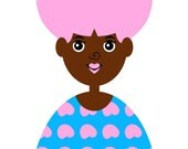 Girl 1, Art Print, (Cute Little Brown Skin and Pink Afro Puffs African American Girl Illustration)