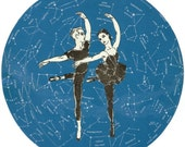 Original Collage Art on Paper Astronomy Star Constellation Map Ballet Dancer Pas de Deux - dadadreams