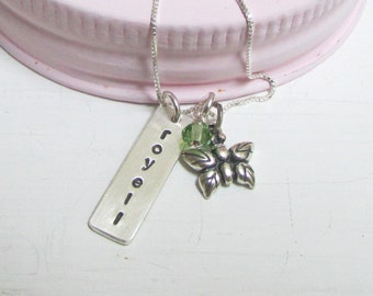Girls Charm Necklace, Butterfly Charm Necklace,Sister Gift, Sterling Silver, Hand Stamped Necklace Children's Jewelry