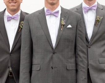 Mens Custom Bow Tie Purple Gingham Freestyle Bowtie
