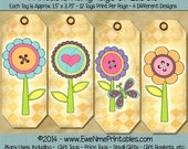 INSTANT DOWNLOAD - Printable Hang Tags - Strip Tags - Spring Flowers - Digital PDF File