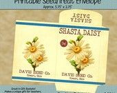 Instant Download - Printable Seed Packet - Vintage Shasta Daisy - Digital PDF and/or JPG File