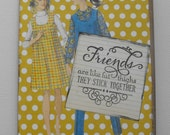 Best Friends Card Humor Handmade paper doll Collage Art Hand stamped Blank inside