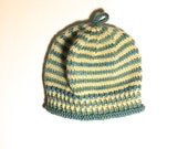 baby hat / striped knit hat / hand knit BABY hat / 6-12 months / baby girl hat / baby boy hat / merino wool and cotton