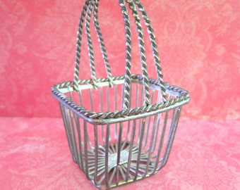 SALE Little Vintage Silvertoned Metal Basket