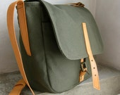 Army Green Canvas Messenger Bag Leather Straps