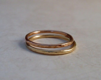 14K Gold Wedding Ring Band Set of Two Rose Pink Yellow Gold Stacking Rings