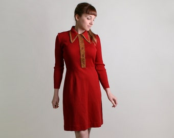 Vintage 1970s Dress - Brick Red Ribbed Sweater Dress - Medium