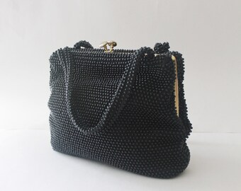 vintage 1940s corde black beaded purse kelly handbag 1940s satchel bag