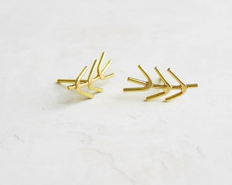 Twig posts - gold stud earrings - 14k gold - 18k gold - recycled gold