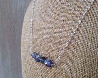 Bar Necklace Cool Blue Sterling Silver Gemstone Jewelry Blue Faceted Iolite San Diego California Go2Girl Designs