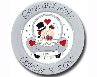 11 inch Personalized Wedding Plate - Love Car Design