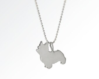 SALE! Love My Yorkie Sterling Silver Silhouette Pendant Necklace - Yorkshire Terrier Lover Jewelry - For Pet People