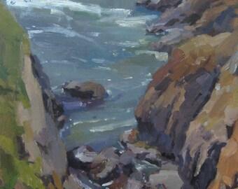 "Art ocean beach painting landscape Oregon coast ""Sea Chasm"" original oil 12x16"""