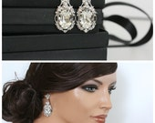 Bridal Earrings Large Crystal Wedding Earrings Silver Wedding Jewelry Swarovski Crystal Rhinestone RYAN