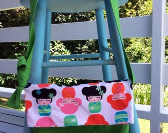 Kimono Girls Messenger Fold Over Shoulder Bag