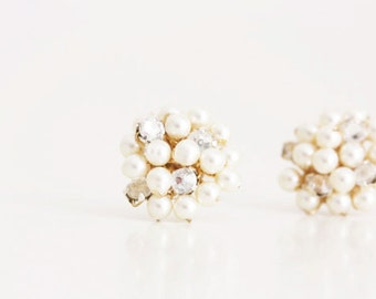 Bridesmaid Swarovski Pearl and Vintage Austrian Rhinestone Stud Earrings