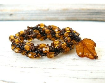 Brown Beaded Bracelet Fall Colors Autumn Leaf Brown and Gold Beadwork Amber Bead Jewelry Custom Size