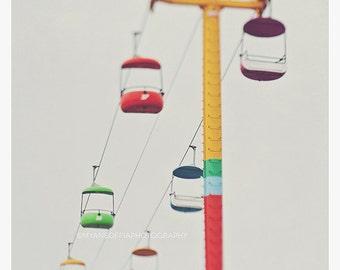 nursery wall art, carnival, Santa Cruz photo, boardwalk, summer, colorful, red green purple yellow, kids room, sky ride, photography