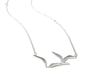 Bird in Flight Necklace, Handmade from recycled Sterling Silver, Bird pendant, nature jewelry