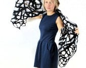 Nuno Felted Scarf   large wrap ribbons and wools coloured white and black