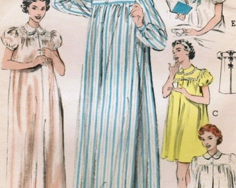 1950s Butterick 6315 Vintage Sewing Pattern Misses Nightgown, Shortie, Bed Jacket Size 18 Bust 36