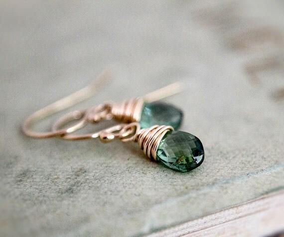 Moss Aquamarine Drop Earrings Gemstone Jewelry Green March Dangle Birthstone