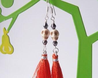 Lady Catrina Earrings in Scarlet - Silk Tassel Earrings.