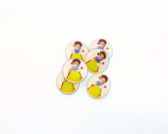 "6 SMALL Princess Snow White Buttons. Handmade Buttons.  1/2"" or 13 mm Fairy Tale or Story Buttons. Sewing, Knitting, Crochet Accessories."
