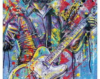 Jack White White Stripes Dead Weather  18 x 24 Art Print Poster  rock and roll blues lazaretto vinyl guitar nashville