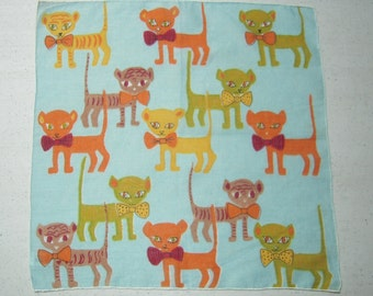 Vintage Mid Century Hankie Cool Cats in Bow Ties