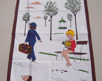 Vintage Towel Peynet Lovers Les Amoureux Breaking Up is Hard To Do