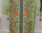 Reserved - Vintage Alfred Shaheen Light Green Hawaiian Floor Length Long Sleeved Dress