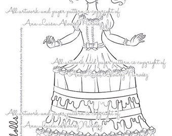 Digital Stamp - coloring page Sweet dolls - Cake girl