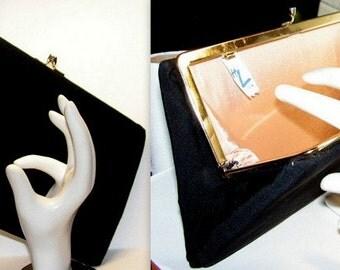 Clutch Purse - Black Fabric Handbag - Designer HL Harry Levine - Vintage Sixties