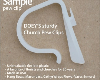 Doey's Pew Clips secure Wedding Ceremony Pew Decorations to Church Pews & Reception Tables. Bow Clips hang Flowers, Bows and Mason Jars