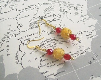 SPAIN Earrings World Flag Jewelry Spanish España
