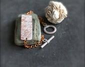 White Wash Patina Chain Wrap Bracelet Copper Bar Diamond Tribal Handmade Jewelry