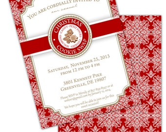 CHRISTMAS Holiday COOKIE SWAP Printable Party Invitation - Red and White - Printing Available
