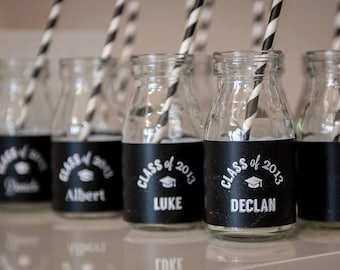 Black and White CHALKBOARD Graduation Party Printable Drink Wraps