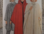 Butterick 4132 - Beautiful Vintage Capes Pattern - Hooded Capes 1980s